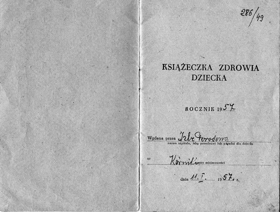 ksiazeczka-zddrowia-dziecka-izba-porodowa-kornik-1957-strona