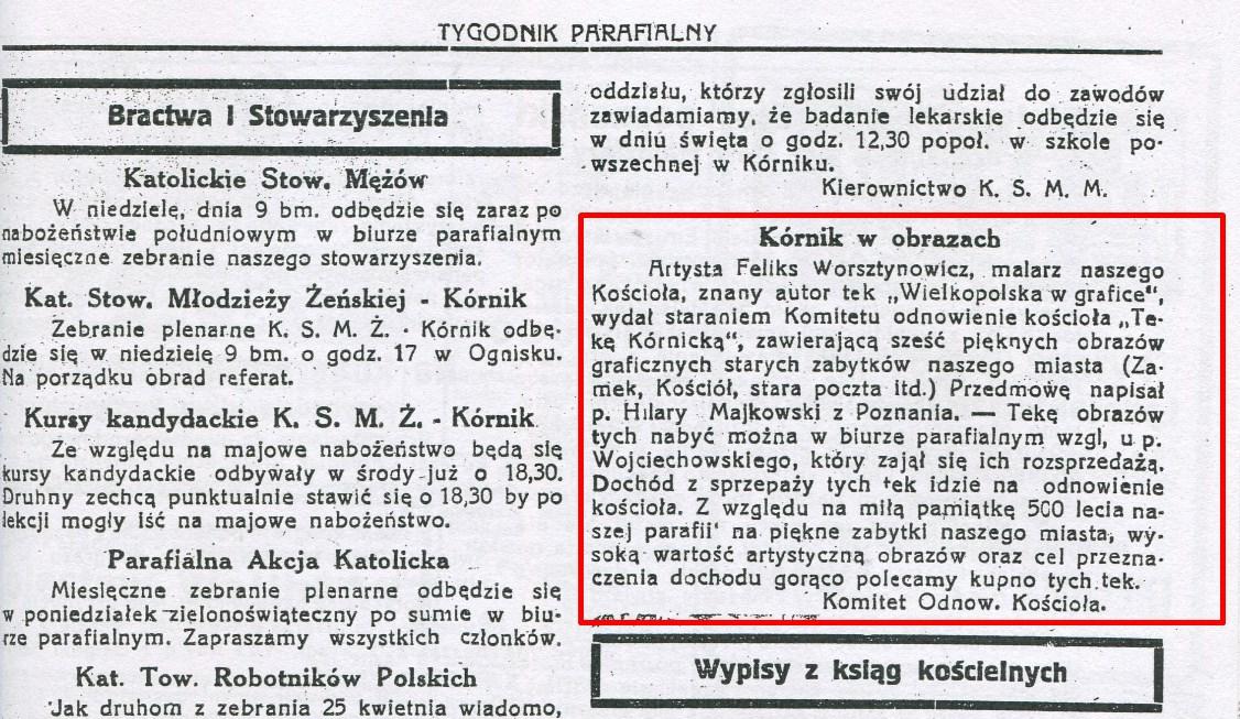 500-lecie Parafii Wszystkich Świętych w Kórniku - 1937 litografie