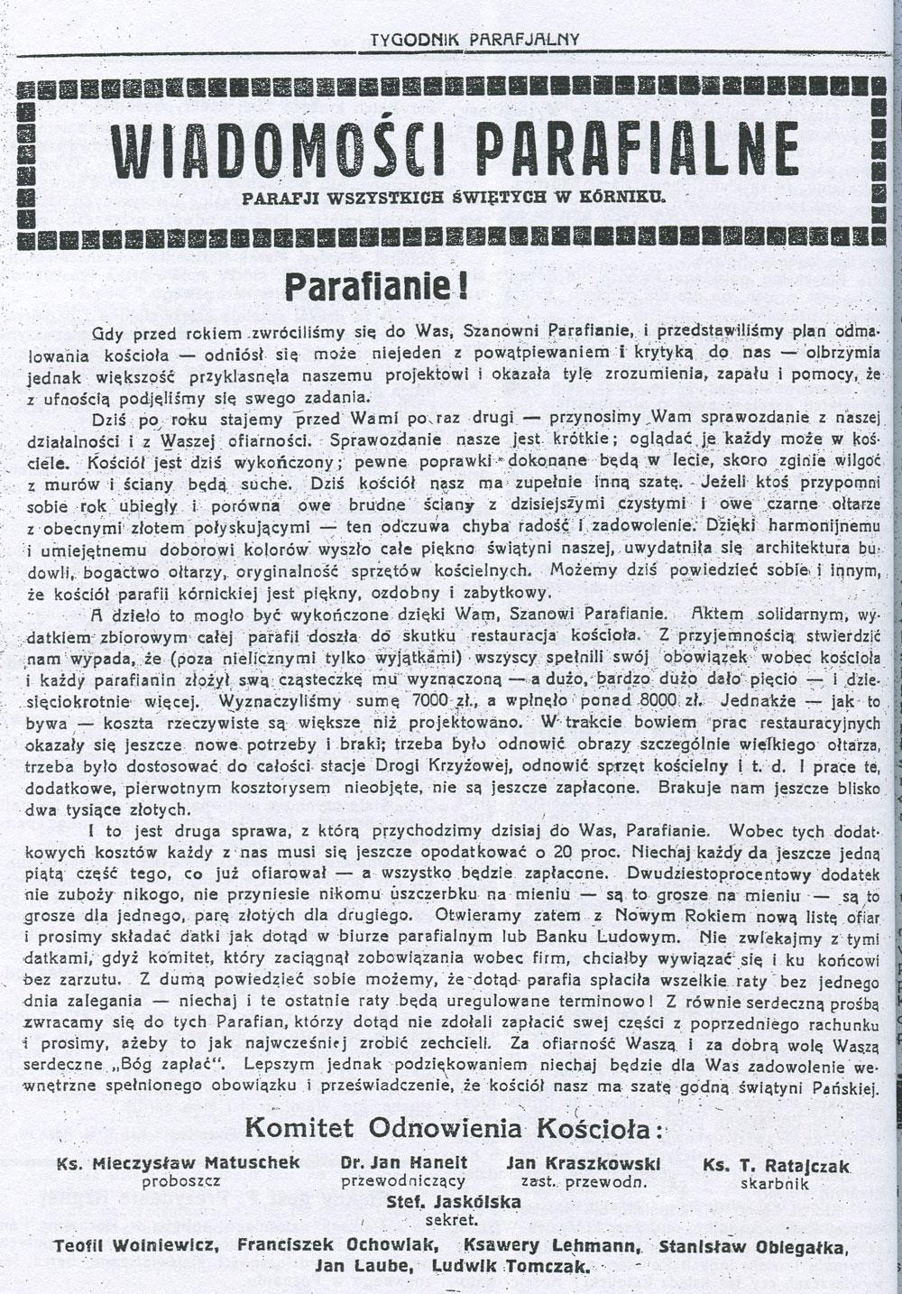 Tygodnik Parafialny Kórnik 3 stycznia 1937
