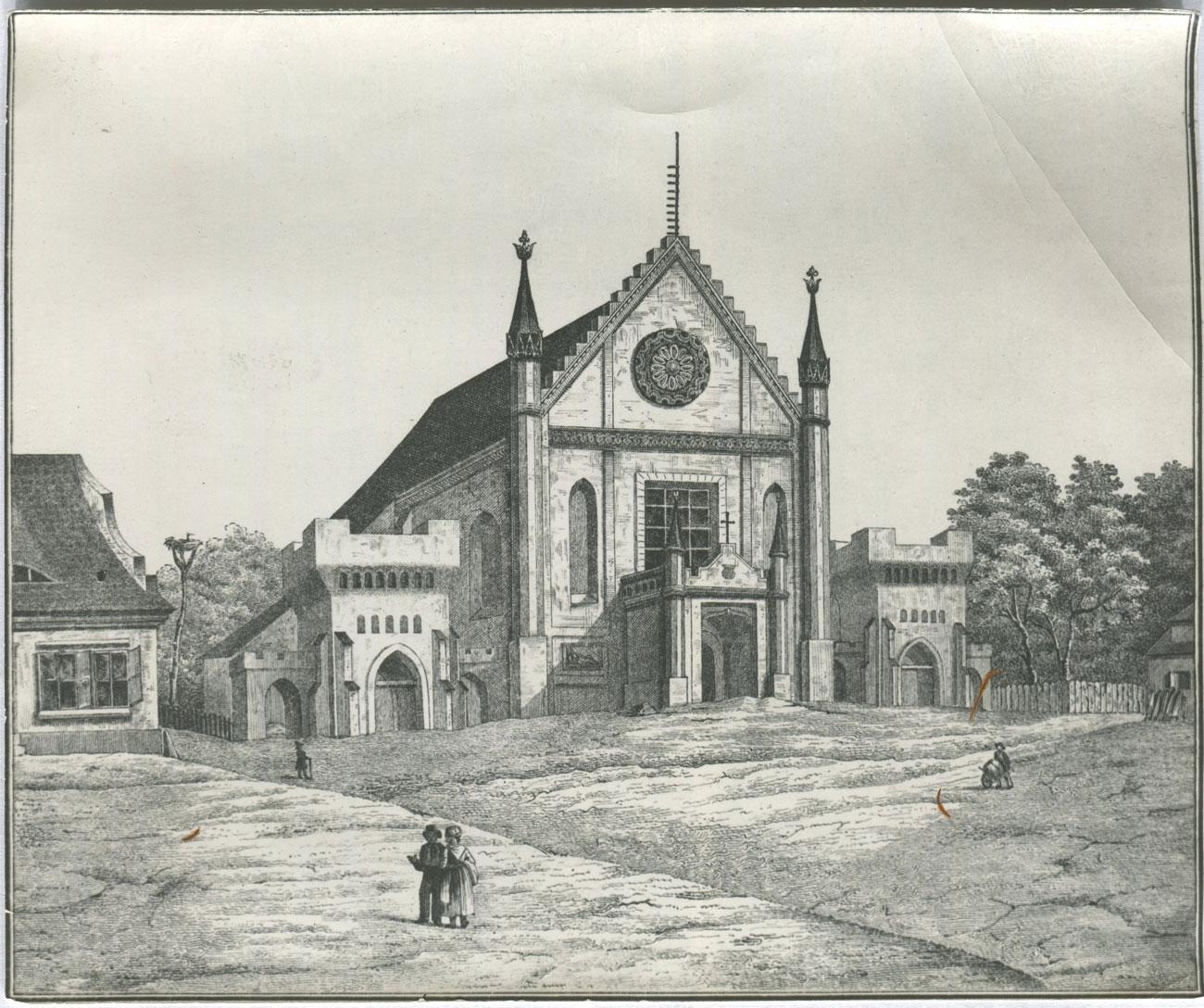 Kościół pw. Wszystkich Świętych w Kórniku - stara rycina