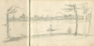 Panorama Kórnika, lata 40'te XIX wieku - Kajetan Wincenty Kielisiński (grafik, rysownik, bibliotekarz Tytusa Działyńskiego)